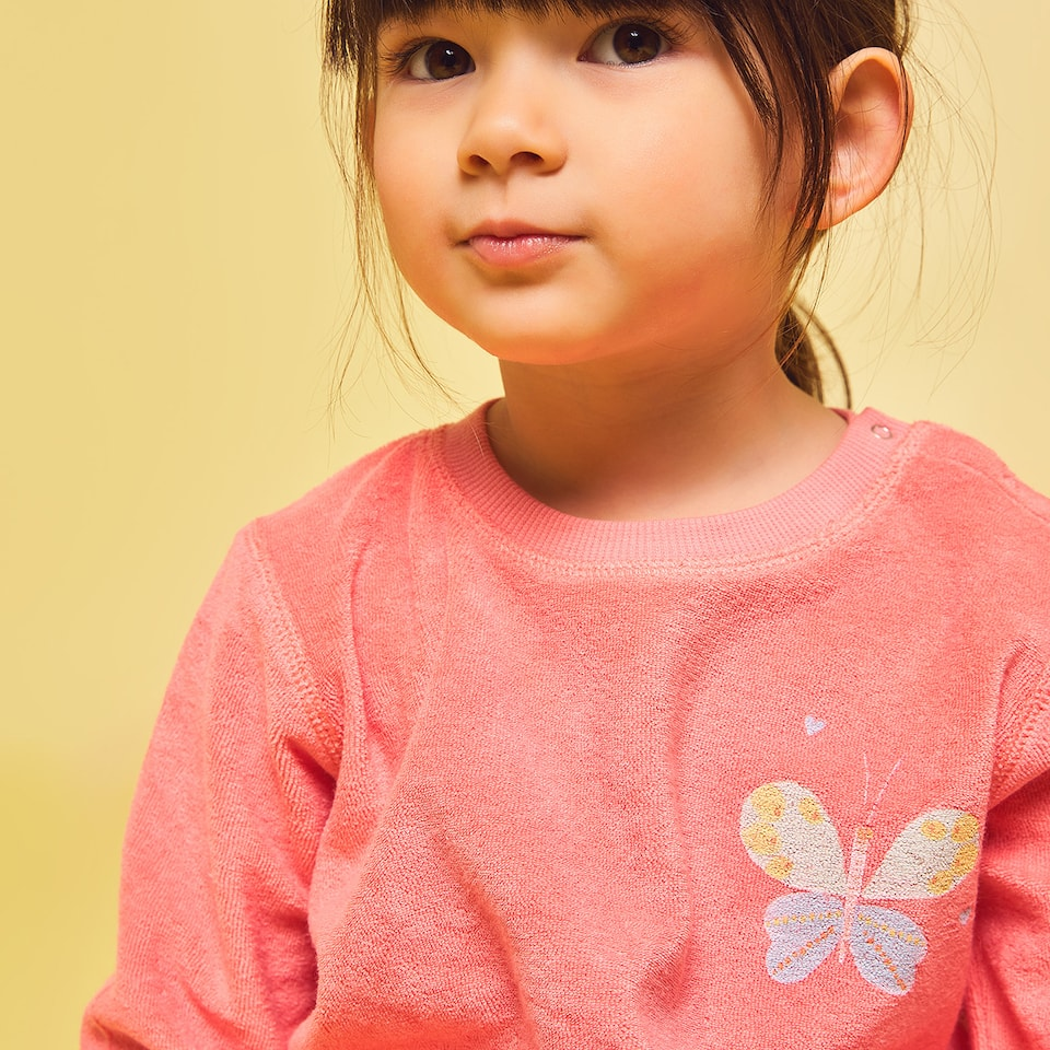 FABRIC SWEATSHIRT WITH RAISED BUTTERFLY