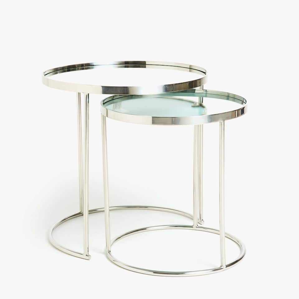 MIRRORED NEST OF TABLES (SET OF 2)