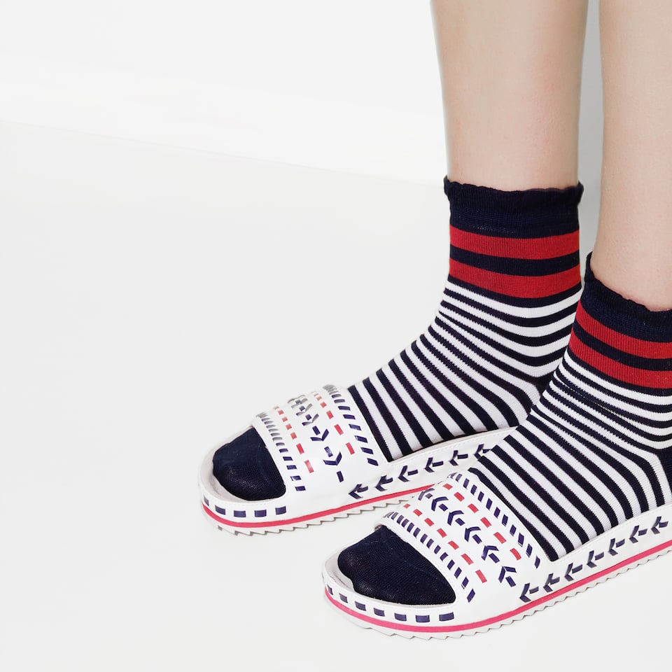 STRIPED MERCERISED COTTON SOCKS
