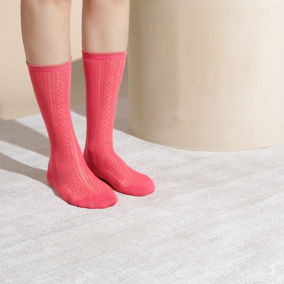 KNEE-HIGH OPEN KNIT SOCKS