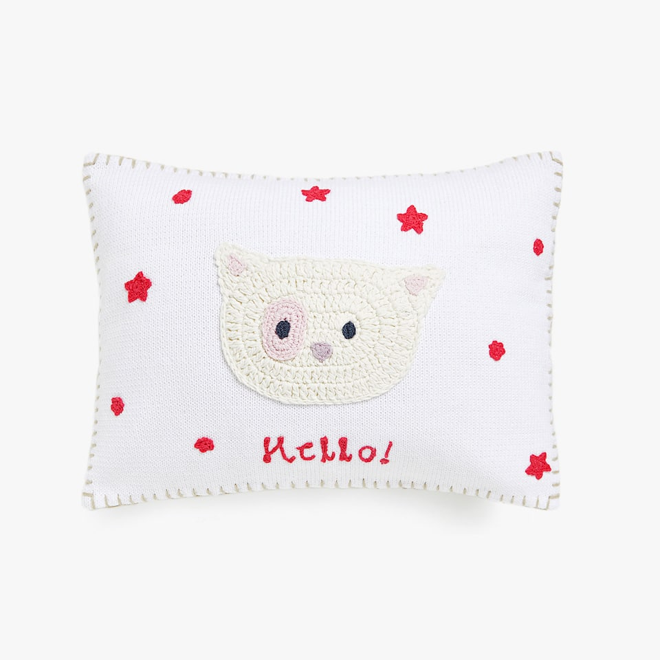 Kids crochet kitten cushion cover