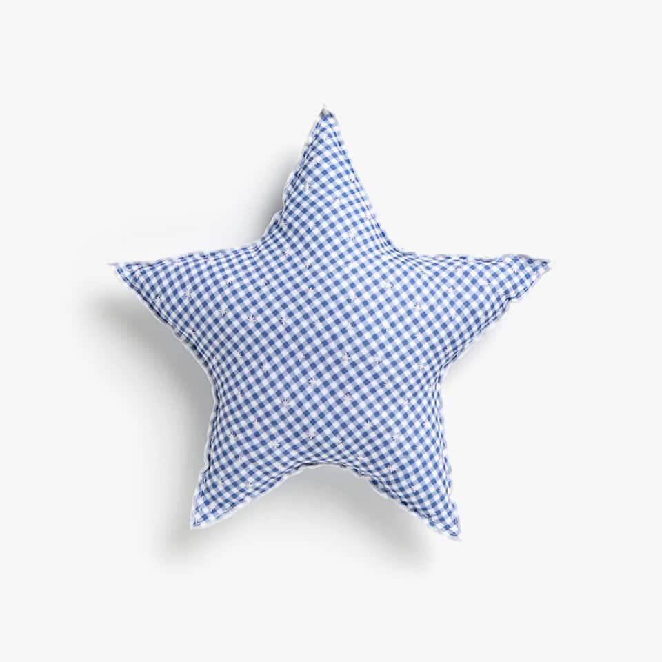 Kids star-shaped gingham cushion