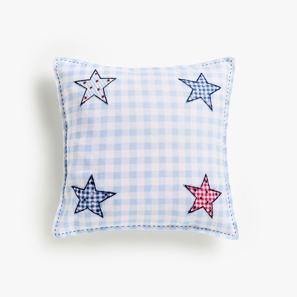 Kids gingham cushion cover with star appliqués