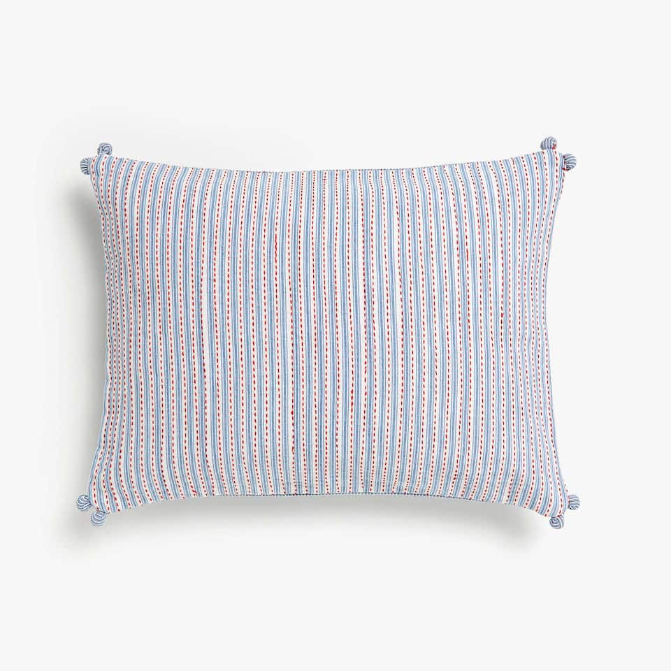 Kids striped cushion cover with pompoms