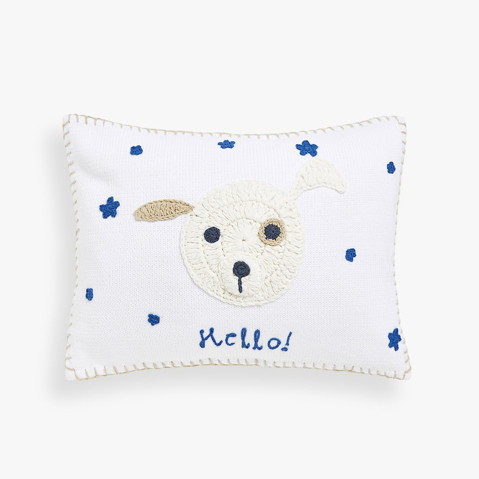 Kids crochet puppy cushion cover