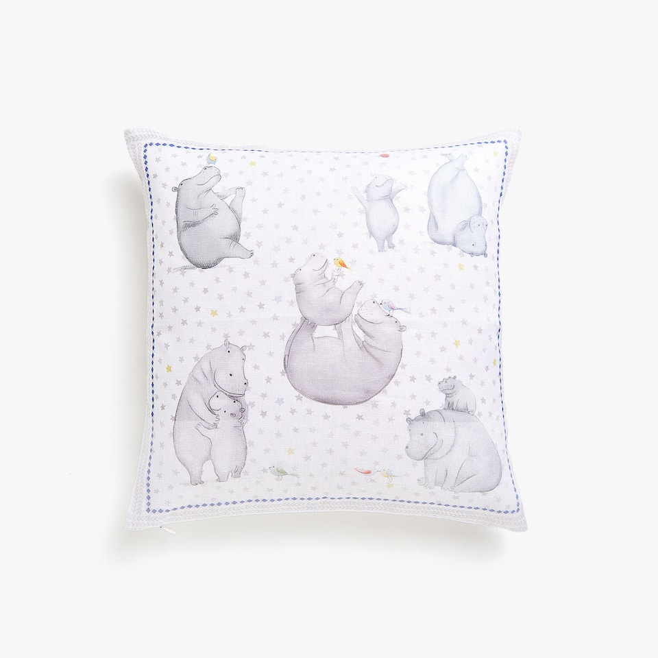 Kids linen cushion cover with hippos at play