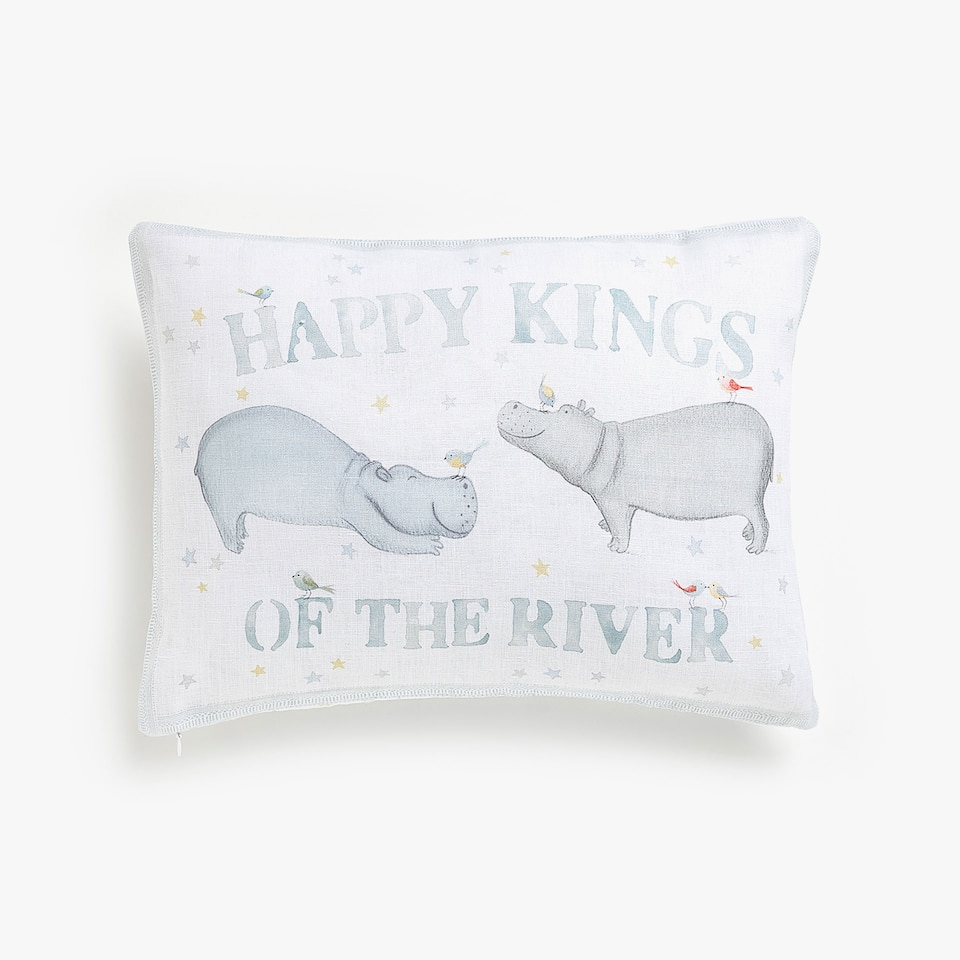Kids hippo print linen cushion cover