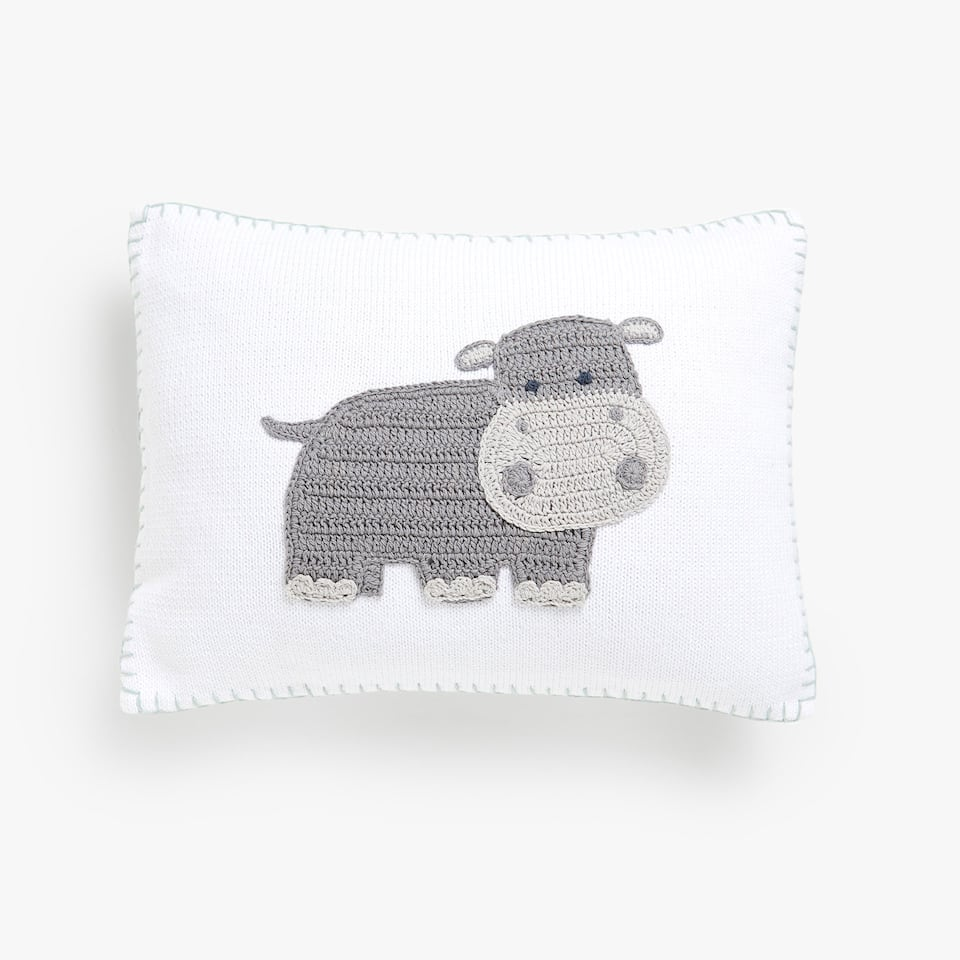 Kids hippo crochet cushion cover