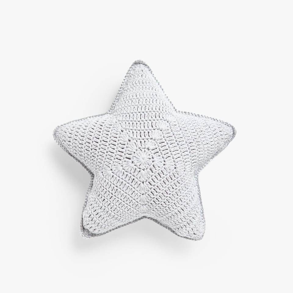 Kids star-shaped crochet cushion