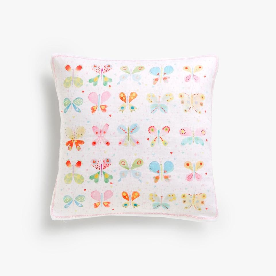 Ленена калъфка за декоративна възглавница на пеперуди, Kids