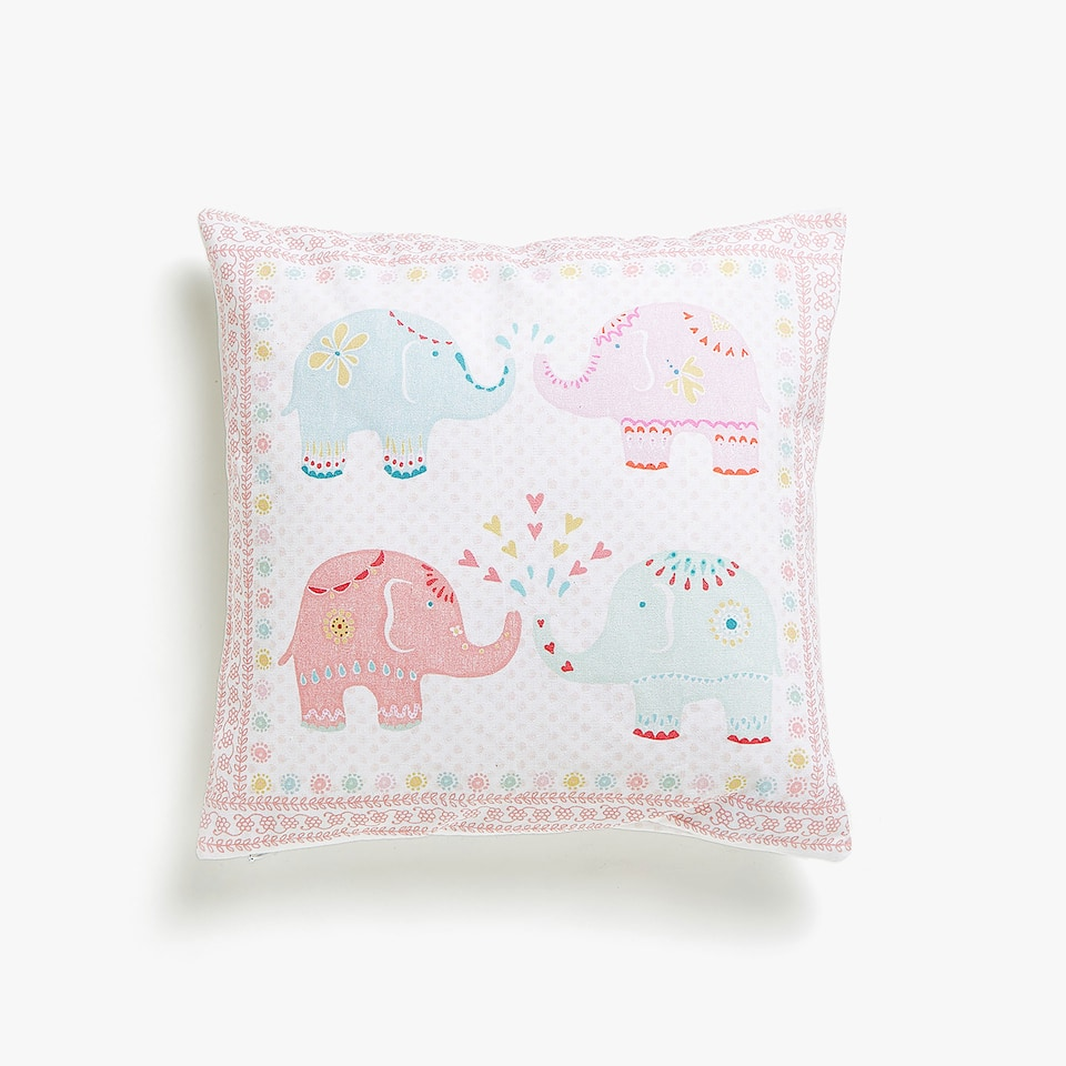 Kids elephant print cushion cover