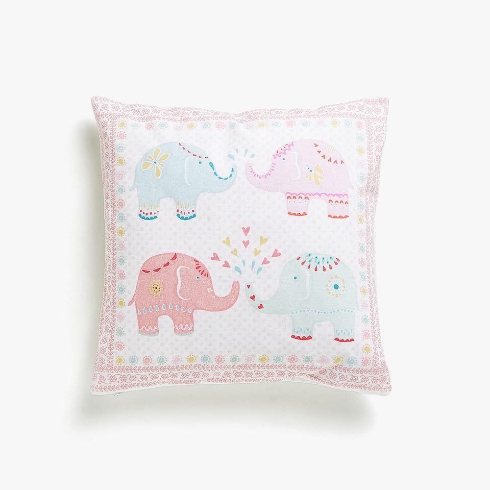 Housse de coussin imprimé éléphants Kids