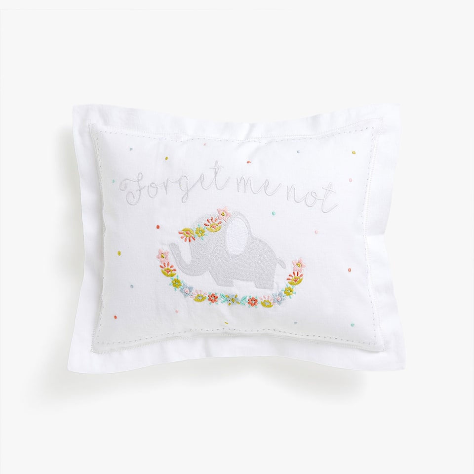 Kids cushion cover with embroidered elephant