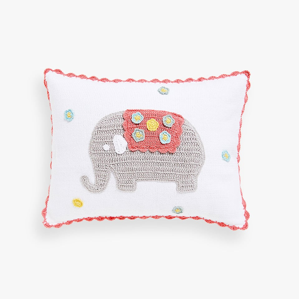 Kids crochet elephant cushion cover