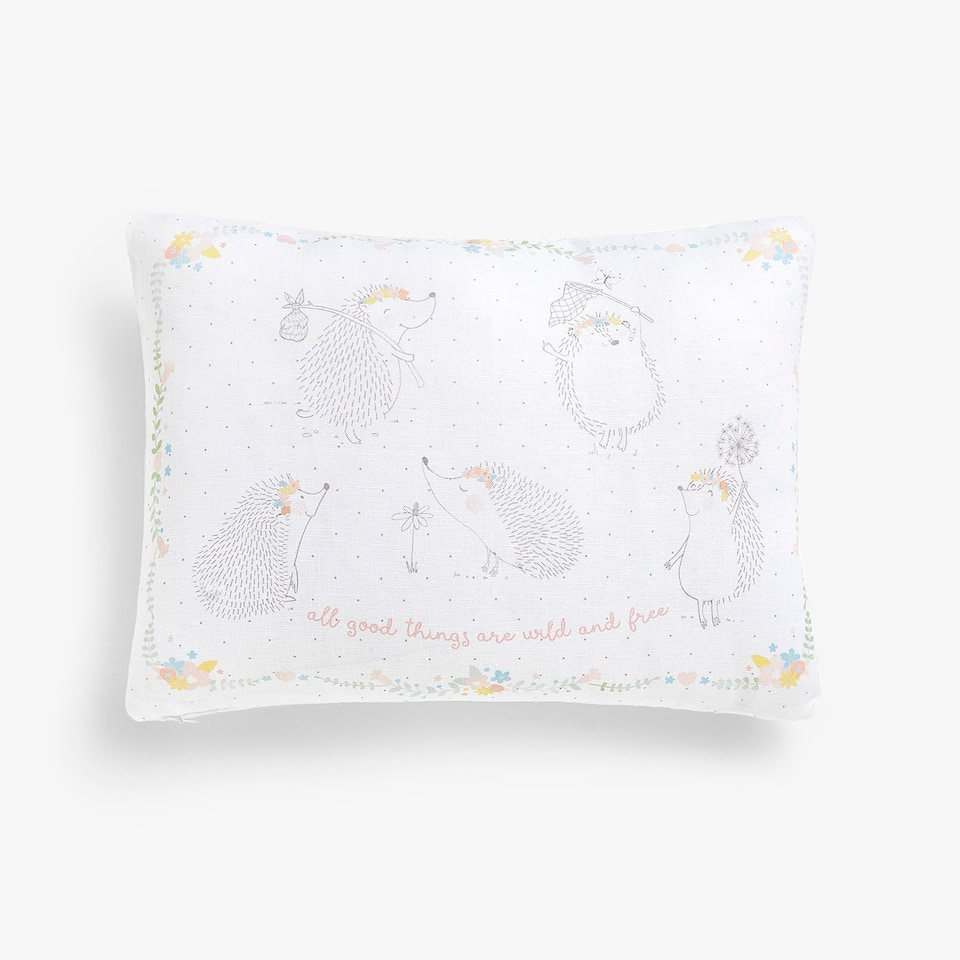 Kids hedgehog print linen cushion cover