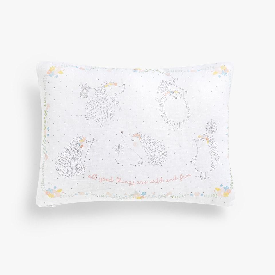 Чехол для подушки, изо льна с принтом «Ежики», Kids