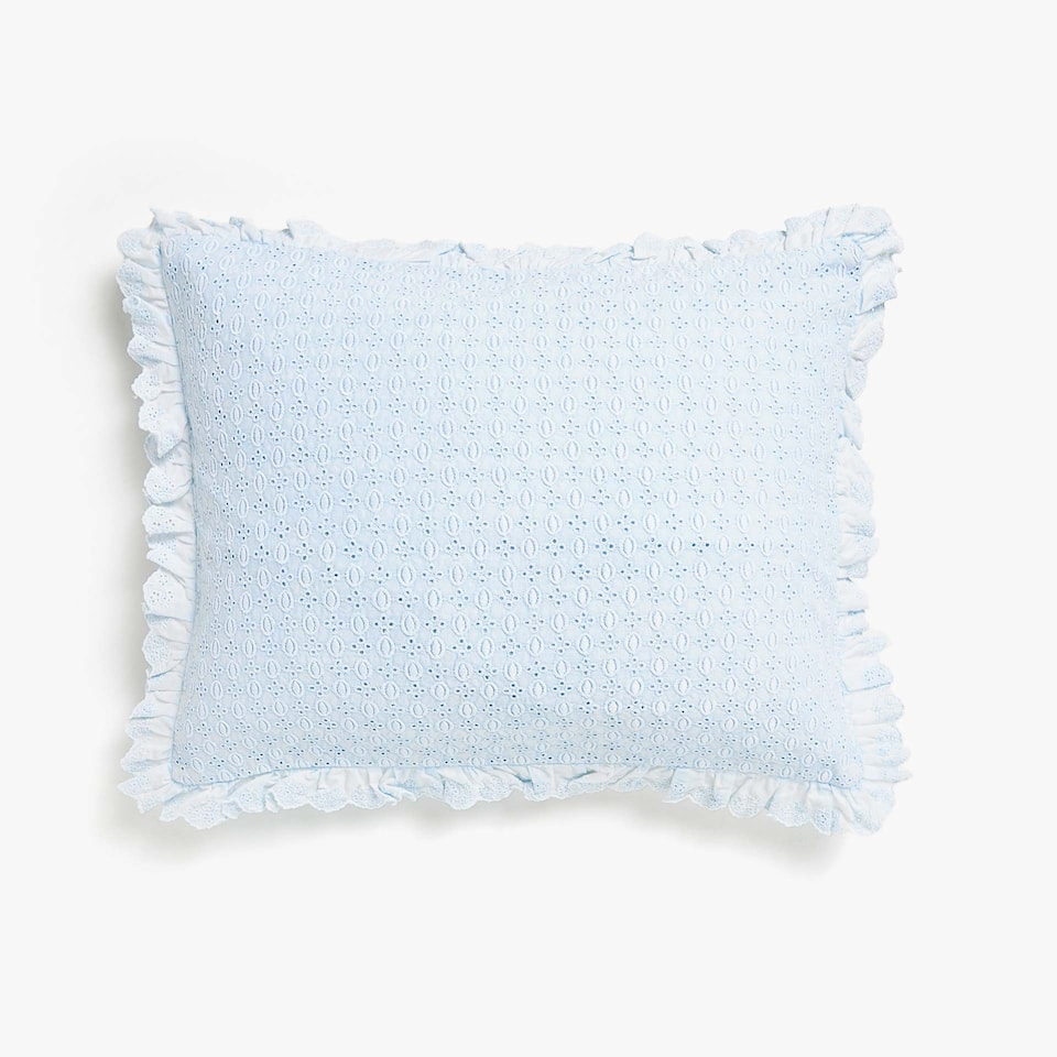 Kids embroidered cushion cover with frill