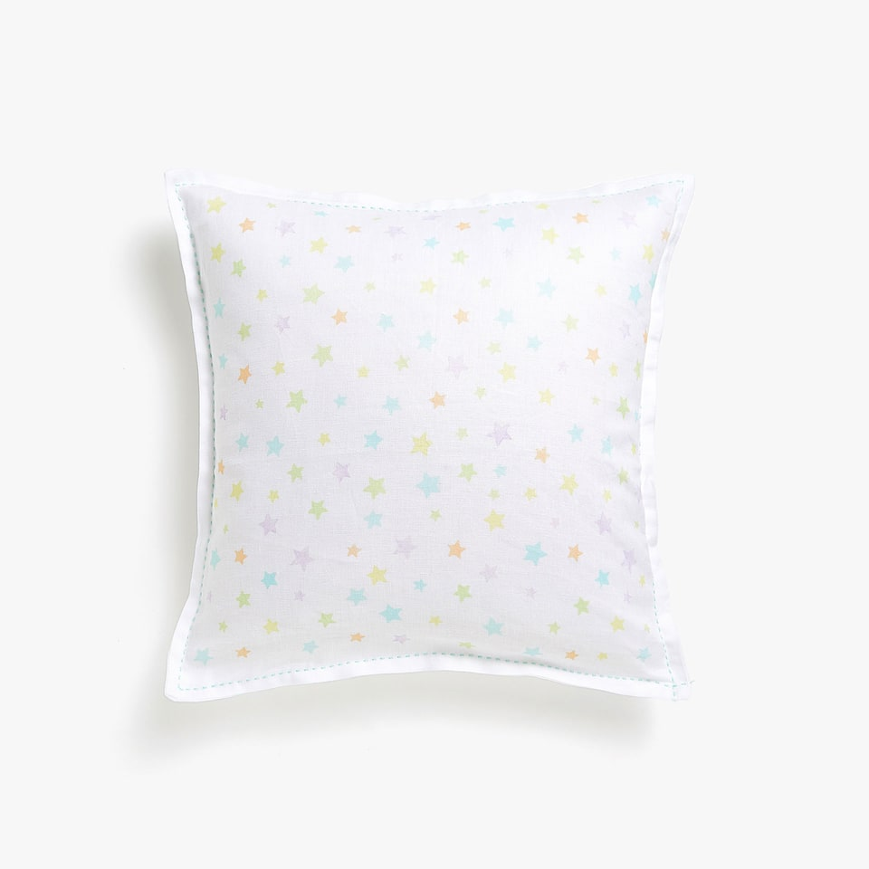 LINEN STAR PRINT CUSHION COVER