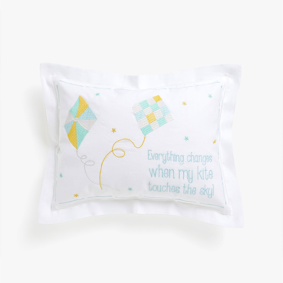 Kids cushion cover with embroidered kites