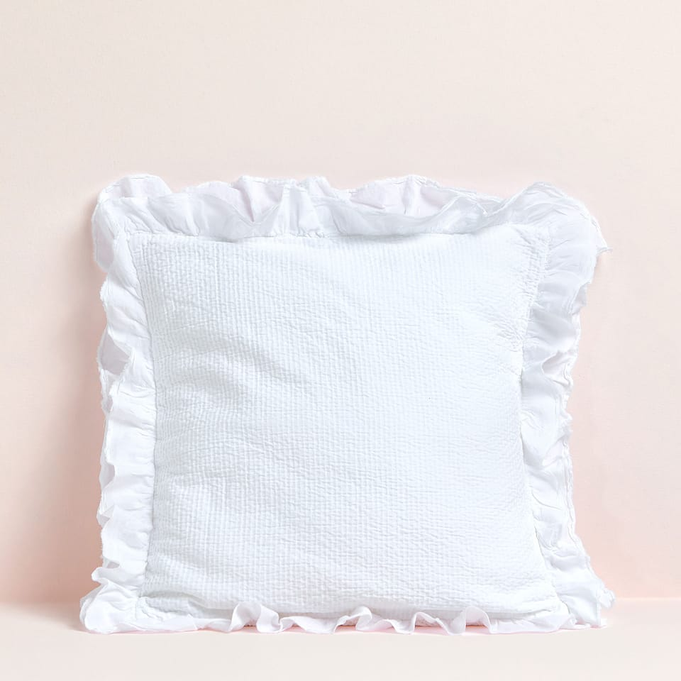COTTON CUSHION COVER WITH DOUBLE RUFFLE TRIM