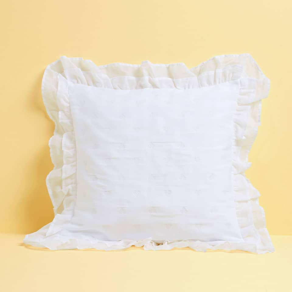 HEARTS COTTON CUSHION COVER WITH SHIMMER AND RUFFLE TRIMS
