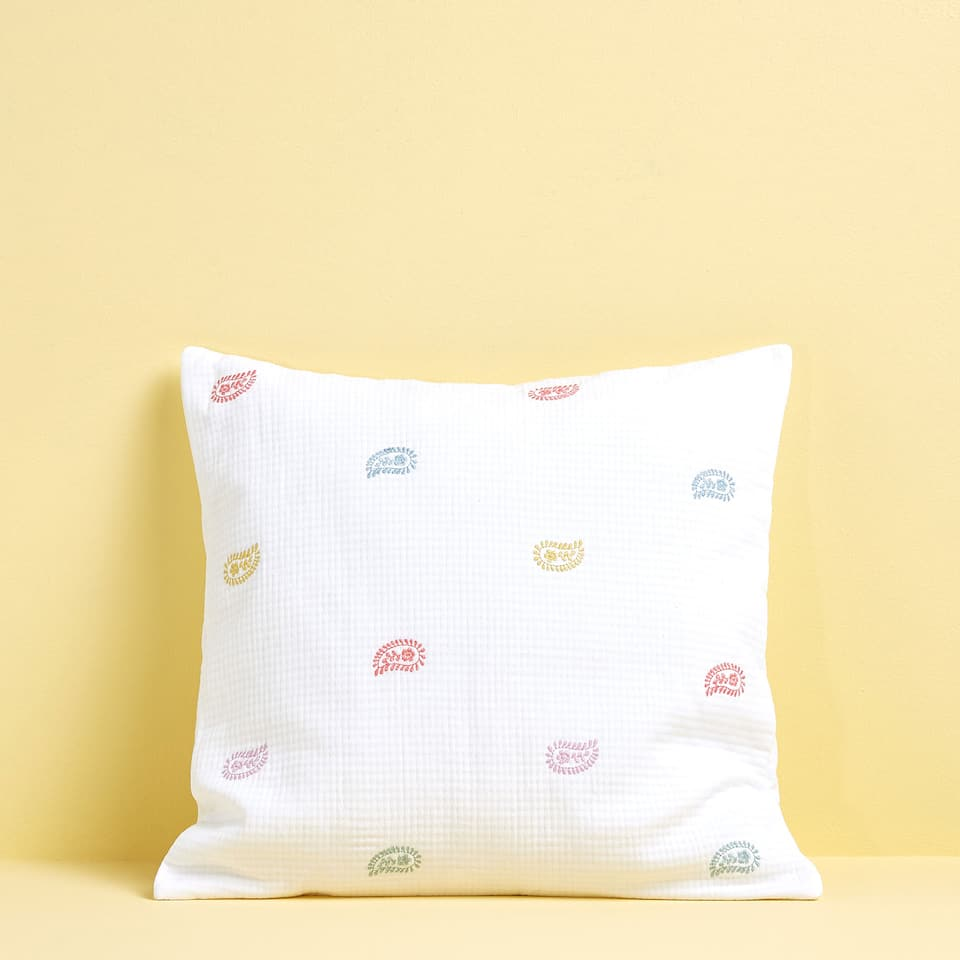 MULTICOLOURED EMBROIDERED COTTON CUSHION COVER