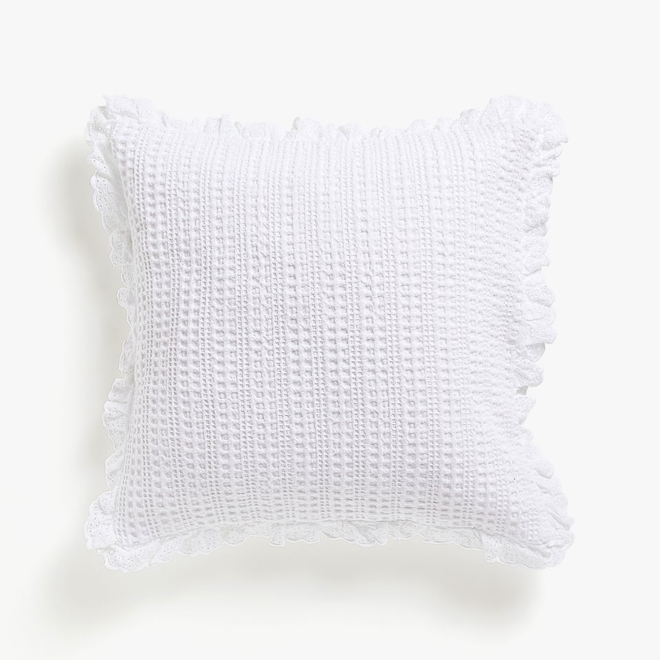 MINI WAFFLE KNIT COTTON CUSHION COVER WITH RUFFLE TRIM