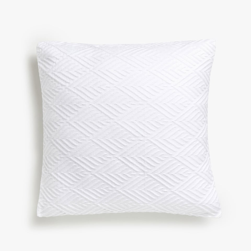 TEXTURED DIAMOND-DESIGN COTTON CUSHION COVER