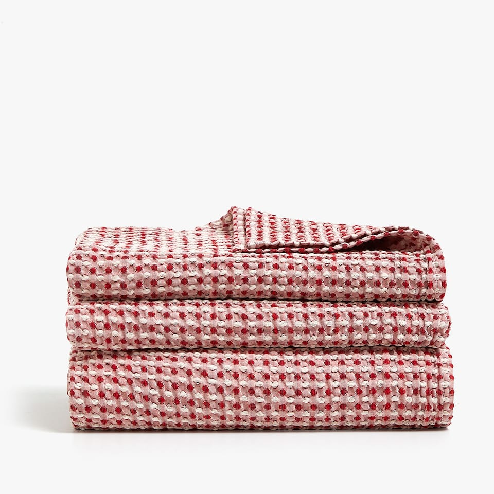 MULTICOLOURED WAFFLE KNIT COTTON BEDSPREAD