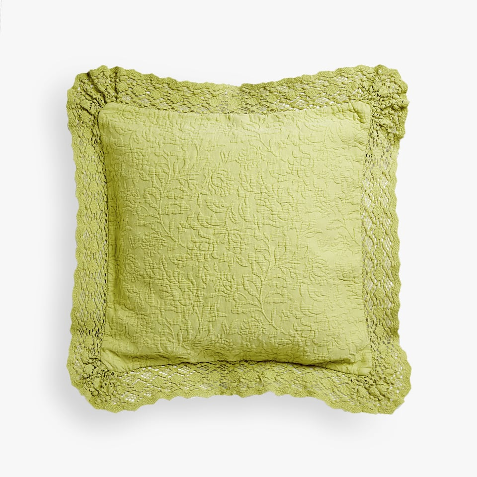FLORAL COTTON CUSHION COVER WITH LACE TRIM