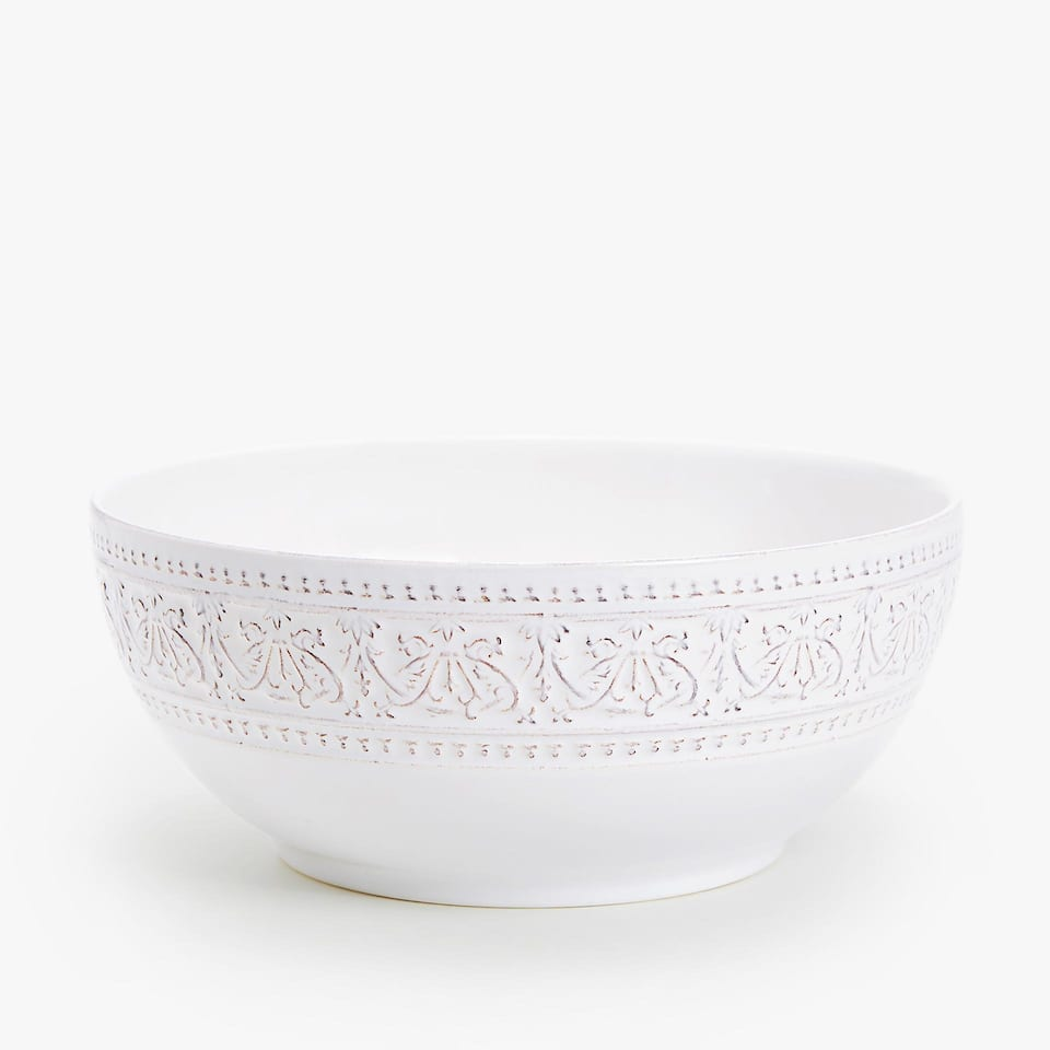 WHITE RAISED-DESIGN EARTHENWARE SALAD BOWL