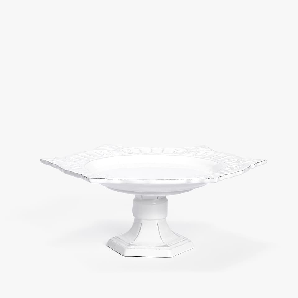 WHITE RAISED-DESIGN EARTHENWARE CAKE DISH