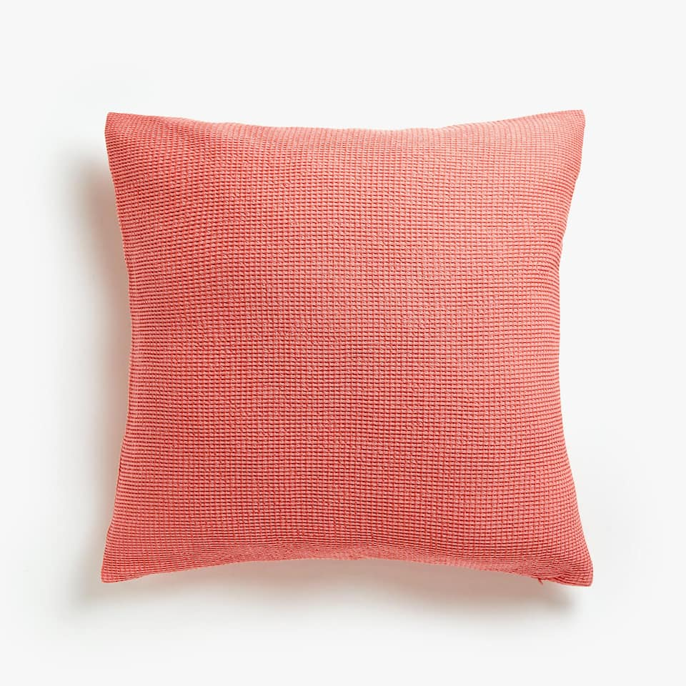 MINI WAFFLE KNIT COTTON CUSHION COVER