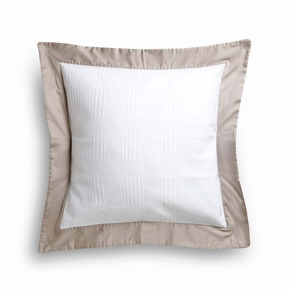 MERCERISED COTTON CUSHION COVER WITH SATEEN BORDER