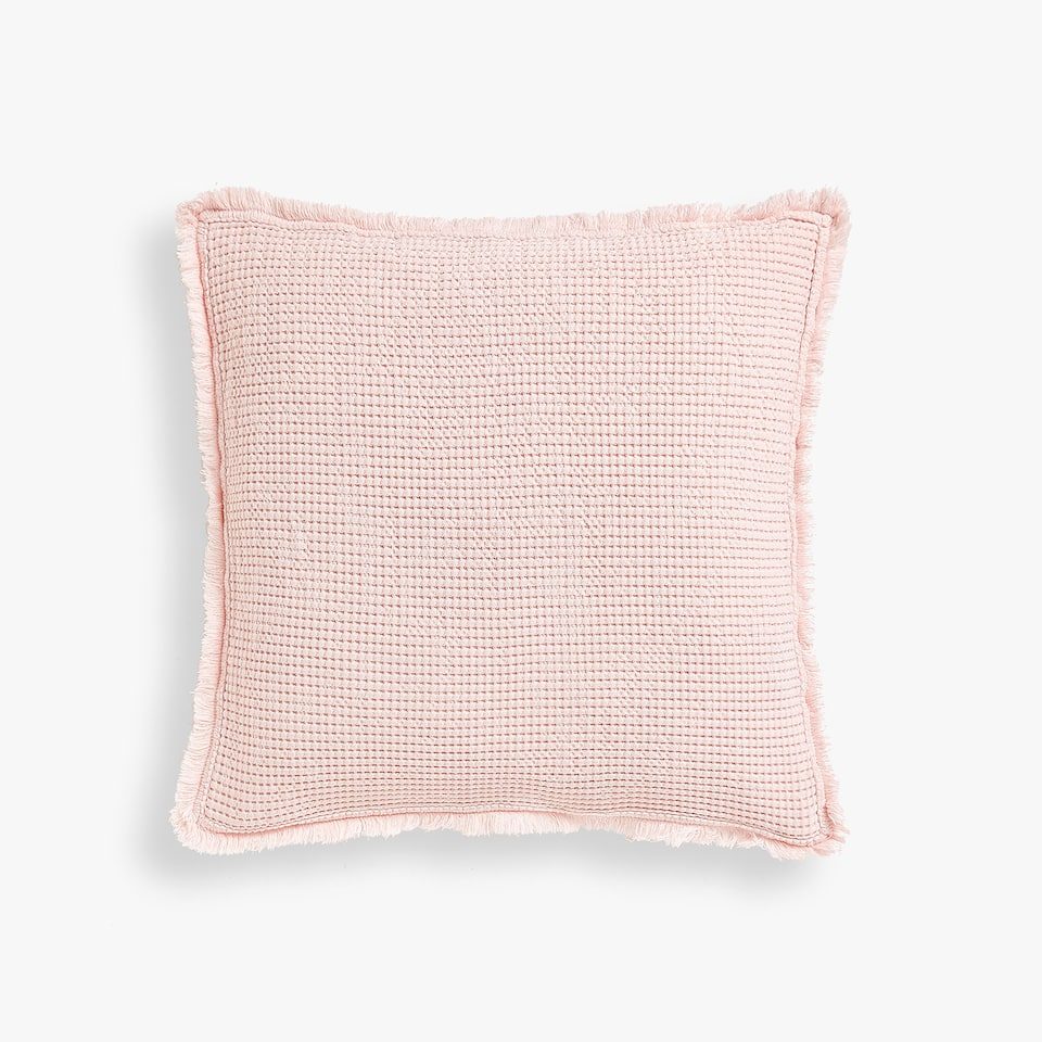 MINI WAFFLE KNIT COTTON CUSHION COVER WITH FRINGE