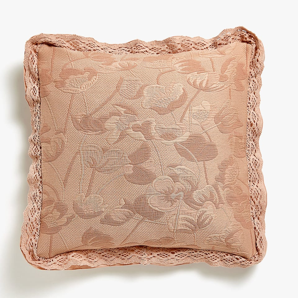 FLORAL COTTON CUSHION COVER WITH RUFFLE AND LACE TRIMS