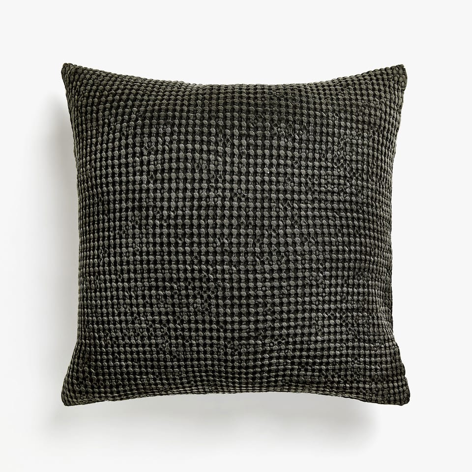 IRREGULAR WAFFLE KNIT COTTON CUSHION COVER