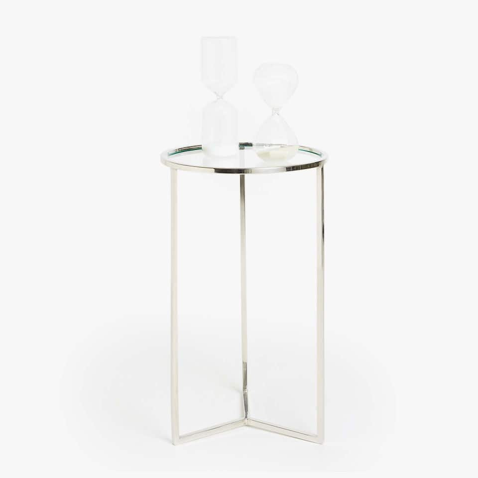 TALL GLASS AND METAL TABLE
