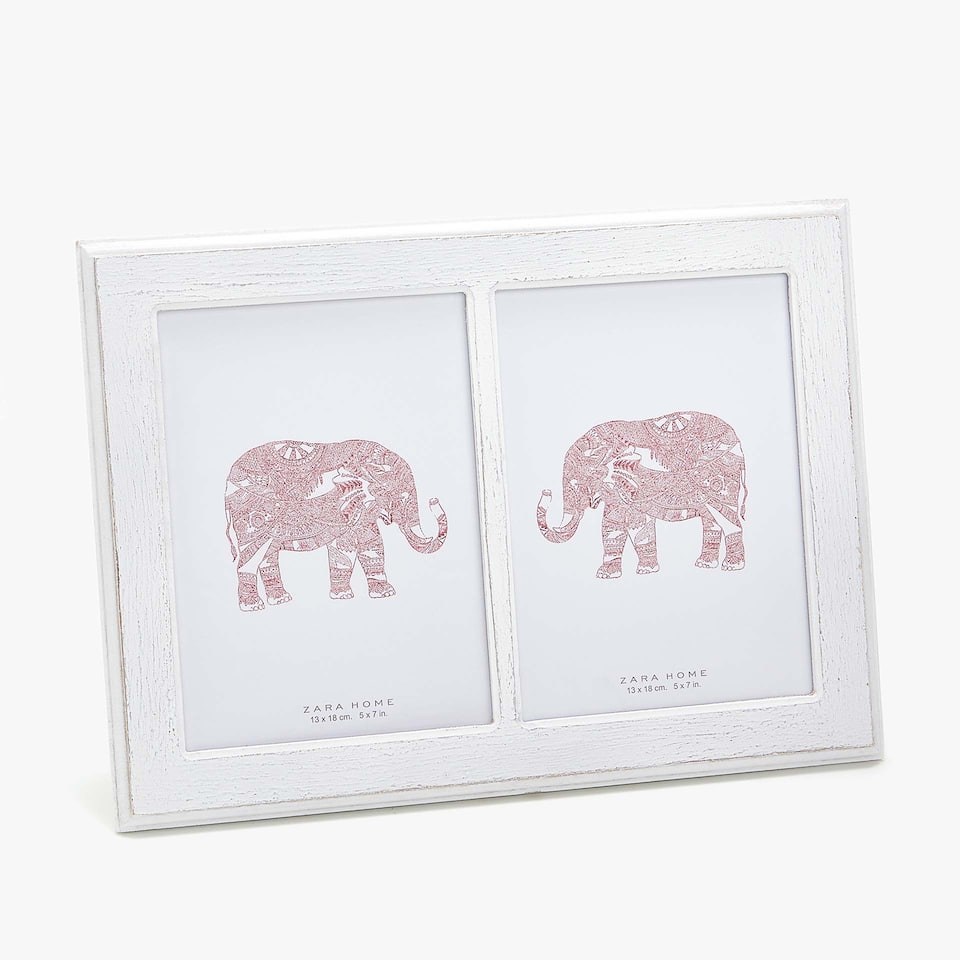 DOUBLE PHOTO FRAME WITH ELEPHANT ARTWORK