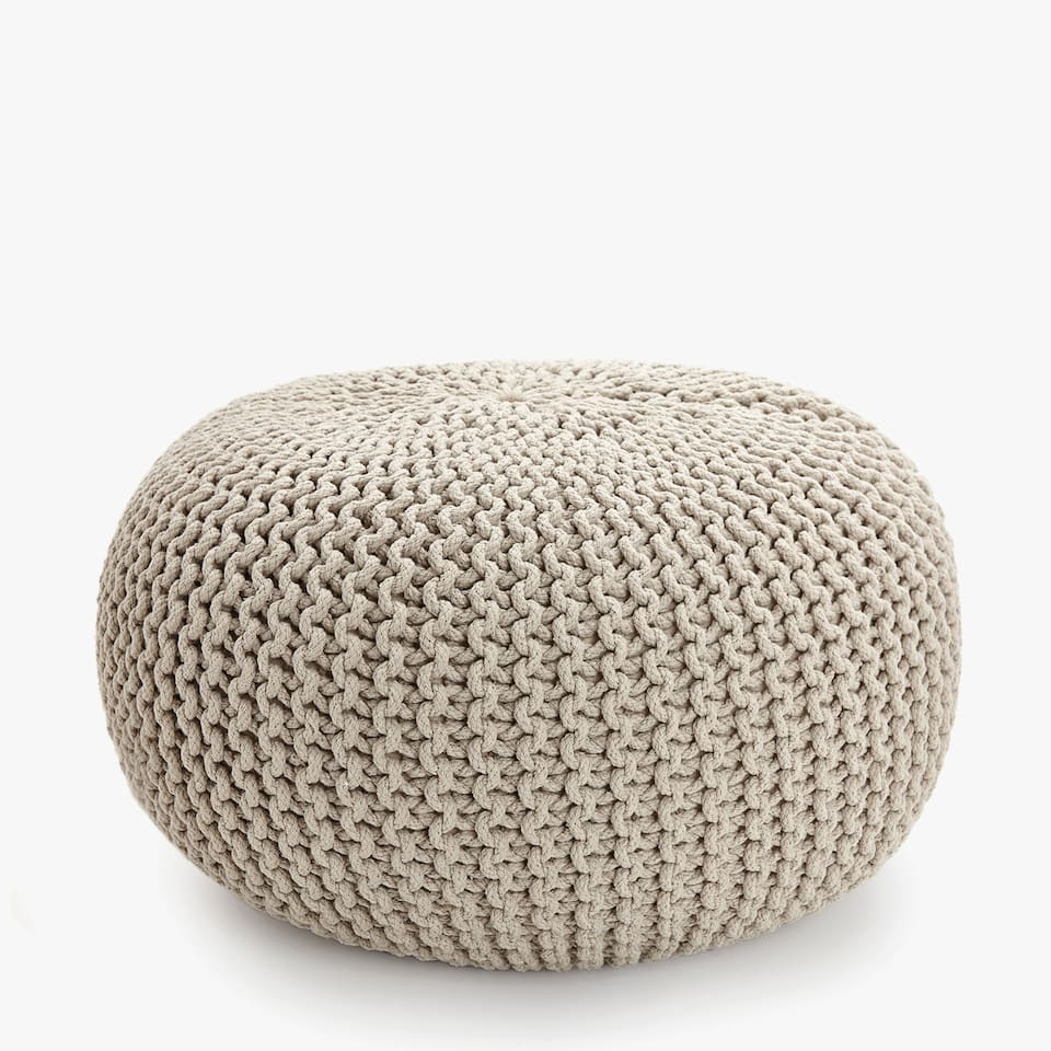 FLATTENED BRAIDED POUF