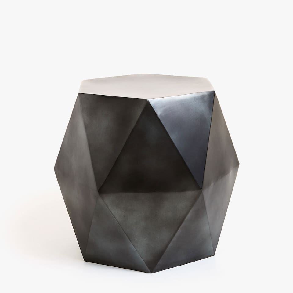 FACETED IRON GEOMETRIC STOOL