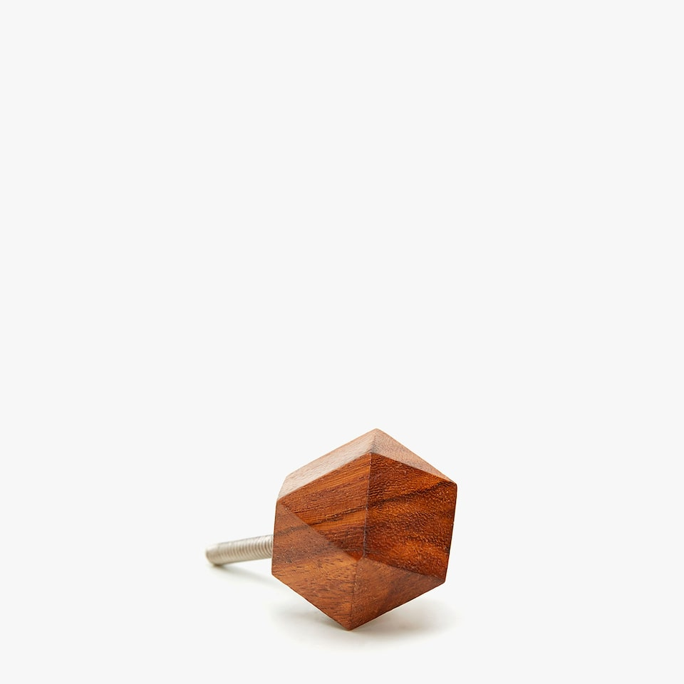 WOODEN PYRAMID-SHAPED KNOB (SET OF 2)