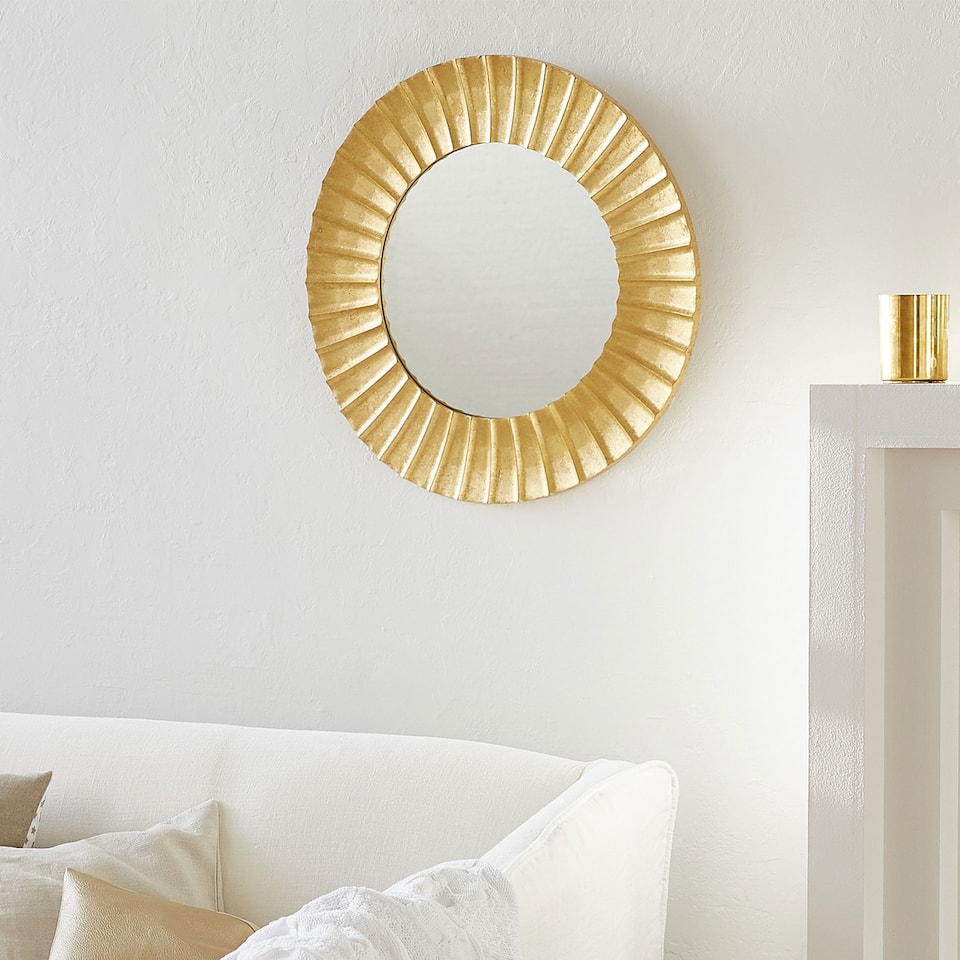 ROUND GOLD RAISED DESIGN MIRROR
