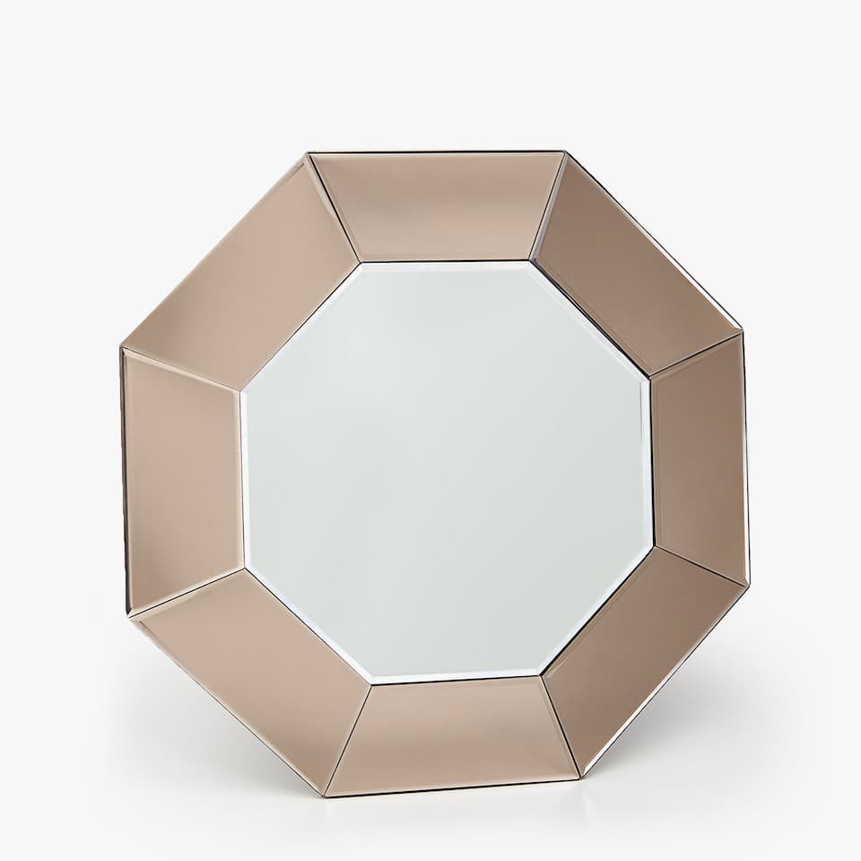 OCTAGONAL MIRROR WITH SMOKEY BORDER