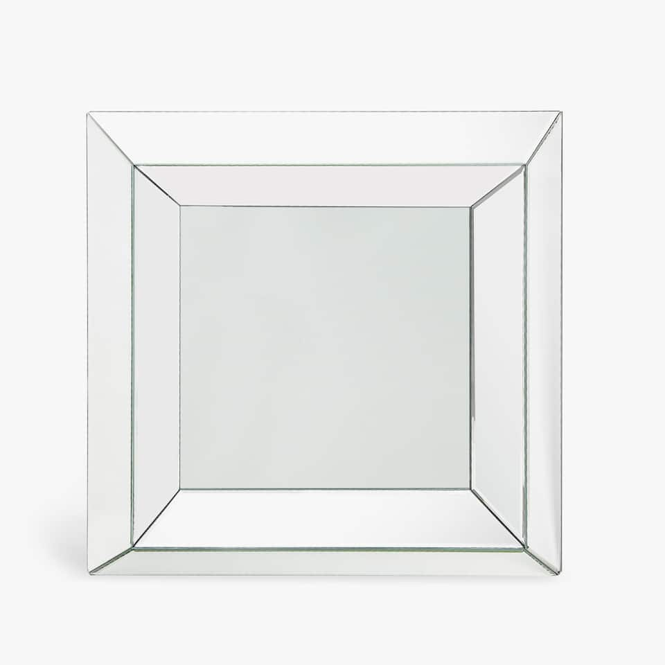 SQUARE MIRROR WITH RAISED DESIGN BORDER