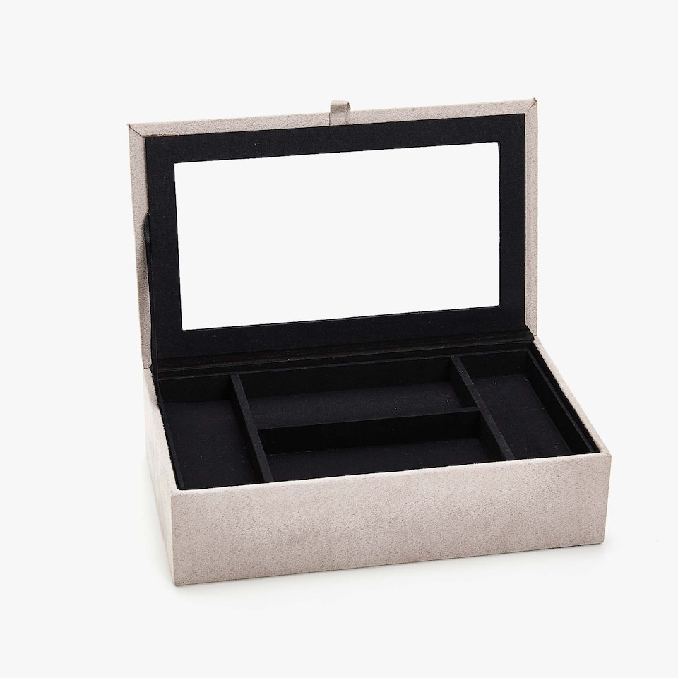 JEWELLERY BOX WITH FAUX SUEDE FINISH