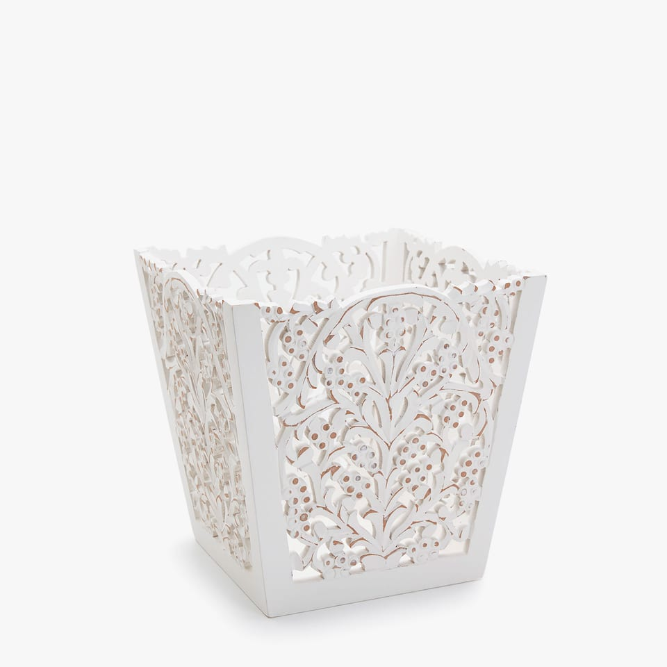 OPENWORK WOODEN WASTEPAPER BASKET