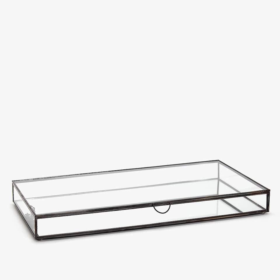 GLASBOX MIT METALLKANTEN IM ANTIK-LOOK