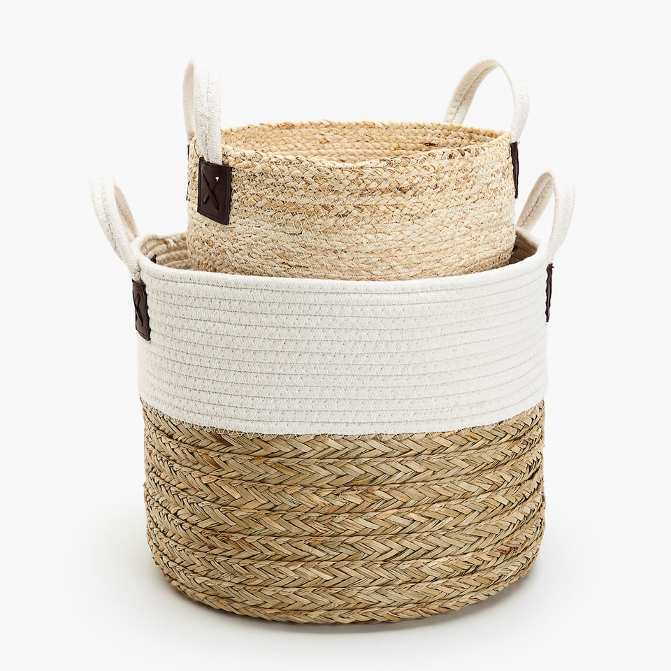 COMBINED FABRIC BASKET WITH HANDLES