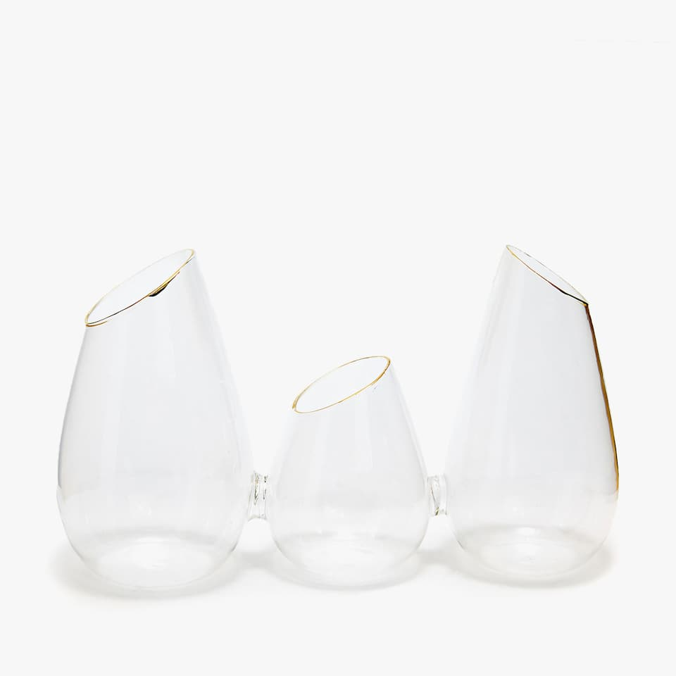 GOLD-RIMMED BOROSILICATE GLASS TRIPLE VASE